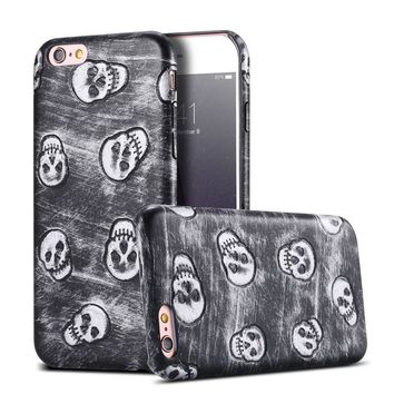 Skull Pattern Phone Case For iPhone 5 5S SE 6 6S Plus PU Leather