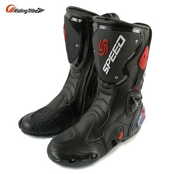 Knee High Motorcycle Boots Motocross Faux Leather Riding Tribe Protective Moto Racing Gear.