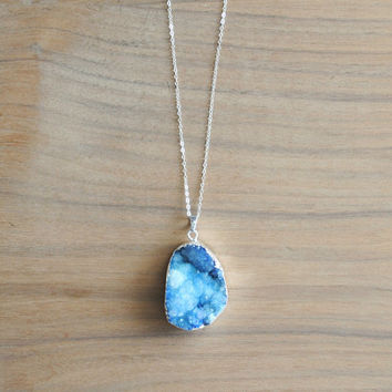 "Blue Druzy Necklace, Silver Plated with 30"" Delicate Sterling Silver Chain, Long Chain, Genuine Silver"