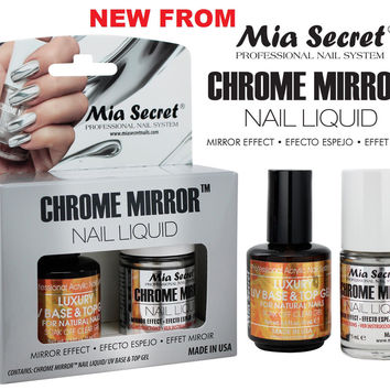 1 Mia Secret Chrome Mirror Nail Liquid UV Base Top Gel Set Mirror Effect Polish