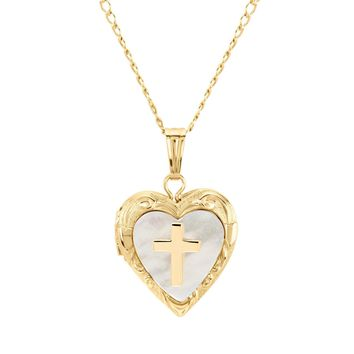 Child's Gold Filled Heart and Mother-of-Pearl with Cross Locket