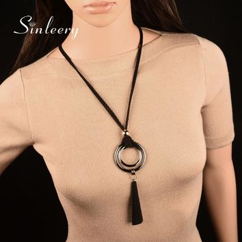 SINLEERY Vintage Gothic Black Suede Leather Long Rope Necklace for Women Big Alloy Double Round Pendant Necklace Jewelry MY444