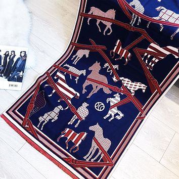 Hermes Fashion New Letter Horse Print Leisure Scarf Blue
