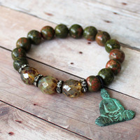 Zen ~ Boho Yoga Stretch Bracelet - Faceted Czech Beads - Brass Buddha Charm - Ukanite Beads - Vintage Rhinestone - Maddie Jean Vintage