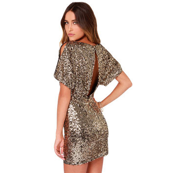 Batwing Sleeves Sequins Dress