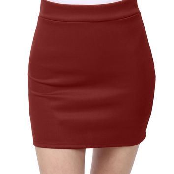 LE3NO Womens Fitted Solid Mini Skirt with Stretch