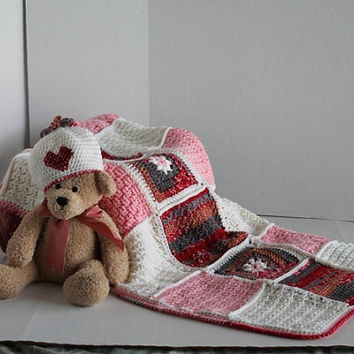 Granny Square Afghan - Baby/Toddler Blanket and Newborn Hat - Pink, White, and Mutli