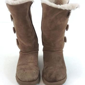 UGG Womens Sheepskin Bailey Button Triplet Lined Boot - Chestnut Suede US Size 6