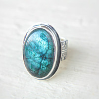 Blue Labradorite Ring Sterling Silver Labradorite Ring Size 7 Ornaments Gothic Ring Silversmithed Metalsmithed