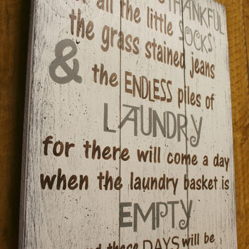 Laundry Room Sign Pallet Sign Laundry Wall Decor Shabby Chic Rustic Vintage Look Sign Today I Will Be Thankful