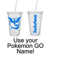 Pokemon Go Inspired Tumbler, Team Mystic Tumbler, Personalized Tumbler, Team Mystic