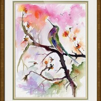 """Sweet Hummingbird and Pink Sky Watercolor Painting"" by Ginette Callaway"