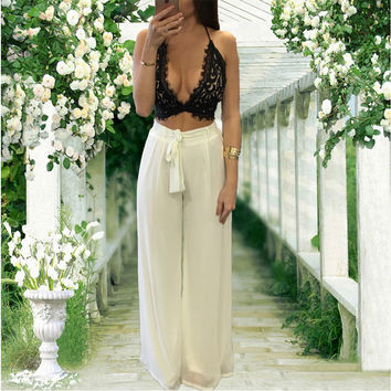 2016 Summer Style 3 Colors Lace Crochet Crop Top Wide Leg Long Pants With Sashes Loose Two Piece Outfits Sexy Jumpsuit