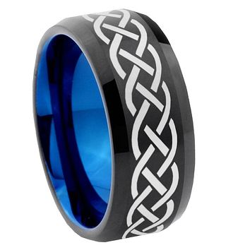 10mm Celtic Knot Bevel Tungsten Carbide Blue Wedding Ring