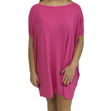 French Rose Piko Tunic Short Sleeve Top