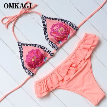 OMKAGI Brand Swimsuit Swimwear Women Bandage Bikinis Set Swimming Bathing Suit Beachwear Sexy Push Up Thong Bikini 2018