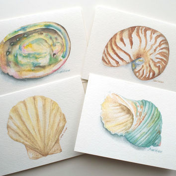 Seashell Watercolor Painting Greeting Card Set of 4