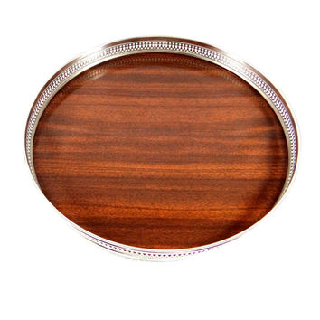 Vintage Silver Plate and Faux Wood Formica Tray by Sheffield from 1960s