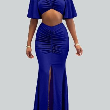 Sapphire Blue Draped Slit Off Shoulder Backless Ruched Mermaid Two Piece Maxi Dress