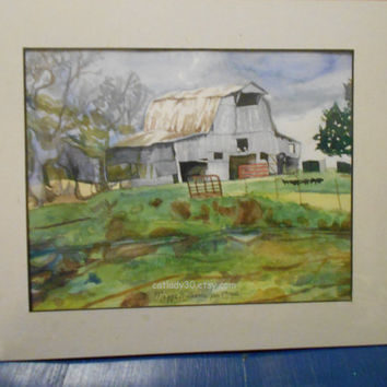 Tobacco Barn Watercolor Print. Barn painting. Watercolor landscape. Watercolor art. Country decor. Barn picture. Barn wall art. Barn artwork