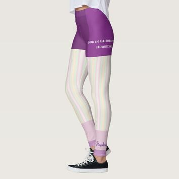 Pastel Stripe Team/Club Leggings with Fake Shorts
