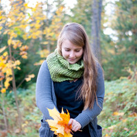 Green snood. Hand knitted in a soft acrylic yarn. Cowl, neck warmer, infinity scarf.