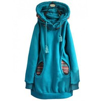 Women Blue Cotton Long Sleeve Hoodie Free Size Outerwear @HX913b