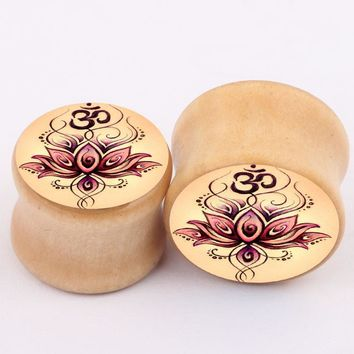 2pcs/Lot Punk Ear Plugs Lotus Flower Wood spread flesh ear tunnels gauges ear stretcher expander piercing body jewelry