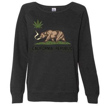 California Republic Weed Bear Ladies Lightweight Crewneck