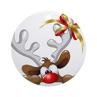 FUNNY CHRISTMAS REINDEER CARTOON ORNAMENT (ROUND)