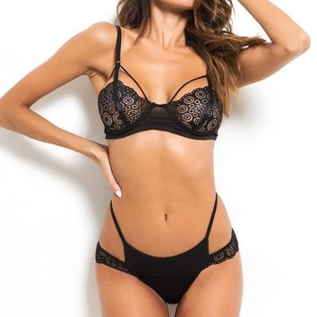 Lace Longline Strapping Bra Sets