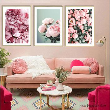 Pink Rose White Flower Nordic Decoration Home Canvas Art Bud Posters And Prints Canvas Prints Art Wall Painting Poster Unframed