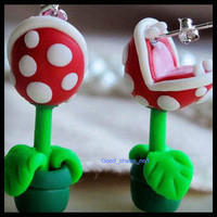 Valentine Gift  Mario Piranha Flower – New popular Earrings studs