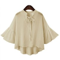 Chiffon Blouse with Flare Sleeve for Women  Fashion Summer Tops V Neck Blouse Office Shirts
