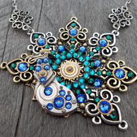 Steampunk Clockpunk Peacock Pendant Necklace, Swarovski Crystal, Watch Movement Part & Watch Gears w/Filigree Cable LinkChain