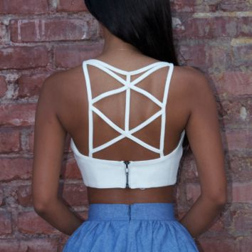 White Back Cross Strap Top