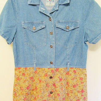 Women's Vintage 90's Chambray & Golden Floral Maxi Grunge Dress w/ Pockets Sz L