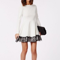 Open Back Long Sleeve Lace Trim Dress