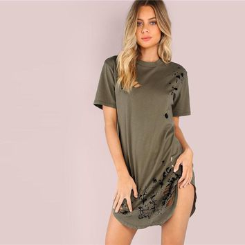 Olive Green Grungy Tee Dress
