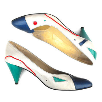 80s Geometric Paradox Pumps - Retro Chic Artsy Abstract Haute Couture Glam Fashion Statement Stilettos Red, White, Blue, and Teal High Heels