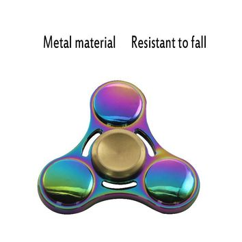 EDC Toy Hand Spinner Red Copper Metal Tri Fidget Spinner For ADHD Anti Stress New Year Gift Toys Gift Man Finger Toys Tops