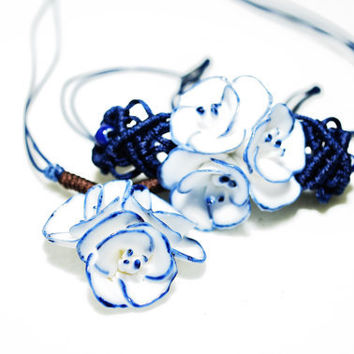 Set of jewelry,ceramic charm jewelry set,blue flowers choker necklace,porcelain charm bracelect,broken china,fashionable gift for her