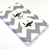 MADE WHEN ORDERED White and Gray Chevron Riley Small Outlet Cover Electrical Duplex - mustache decals not included