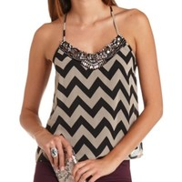 BEADED BIB STRAPPY CHEVRON HALTER TOP