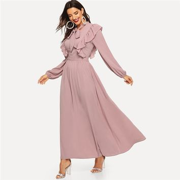 Pink Abaya Tie Neck Fit and Flare Ruffle Pleated High Waist A Line Dress Women Solid Elegant Maxi Dresses
