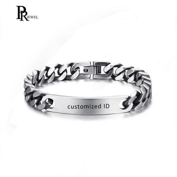 Customized Engraving Unisex Stainless Steel Matte Finished Plain Curb Chain ID Identification Bracelets Retro Gray