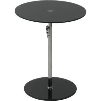 Radinka Adjustable Height Round End / Side Table Black Glass & Chrome