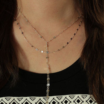 Sterling Silver Y Lariat Necklace, Double Strand Lariat Necklace, Dainty Y Necklace, Minimalist Necklace, Layered Necklace, Layer Set
