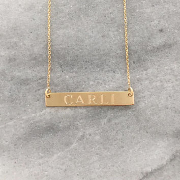 Gold Bar Necklace, Engraved Bar, Nameplate Bar, Personalized Name Necklace, Name Necklace, Horizontal Bar, Monogram Bar, Gift for Her