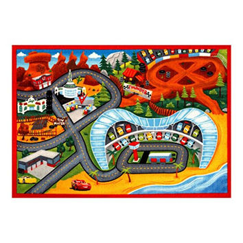 "Disney Cars Toys Rug 2017 HD Edition Cars 3 Kids Game Rugs Throw Playmat 32""x44"" w/ Lightning McQueen + Mater 2 Toy Car"